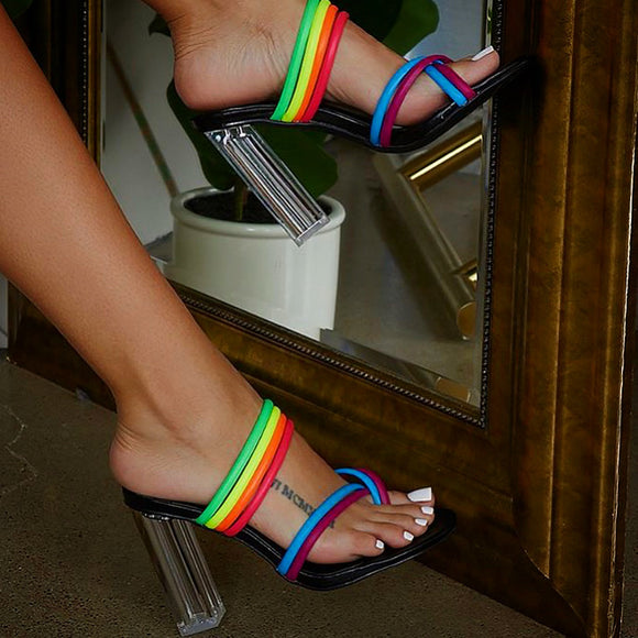 RAINBOW TOE STRAP HEELS (PreOrder: AVAILABLE MID AUGUST)