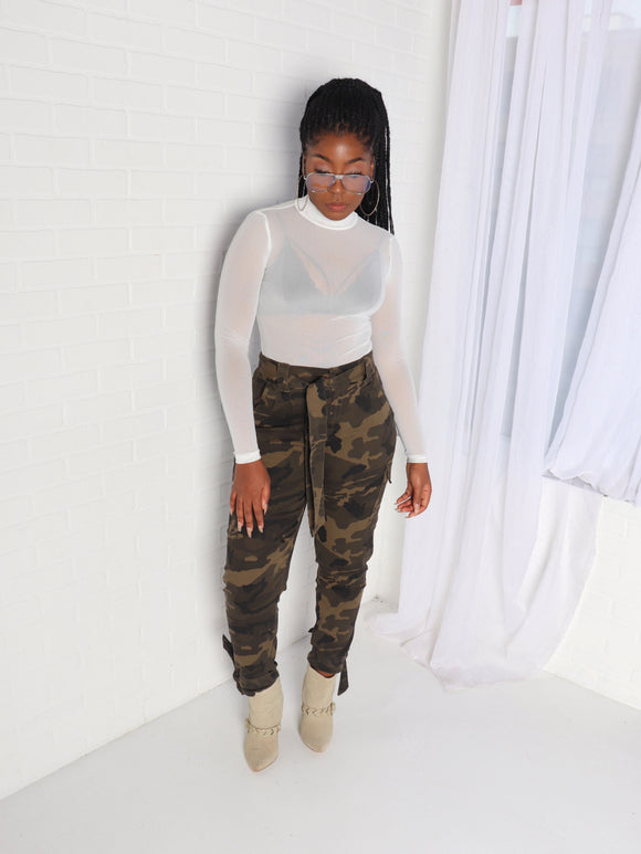 Plus Size CAMO Waist & Ankle Tie Pants