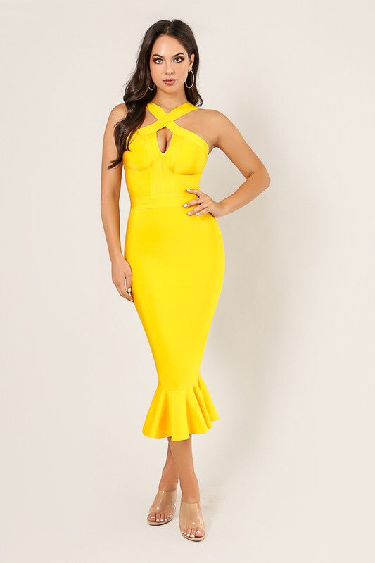 LUNA Front Criss Cross Mermaid Bandage Dress in Yellow