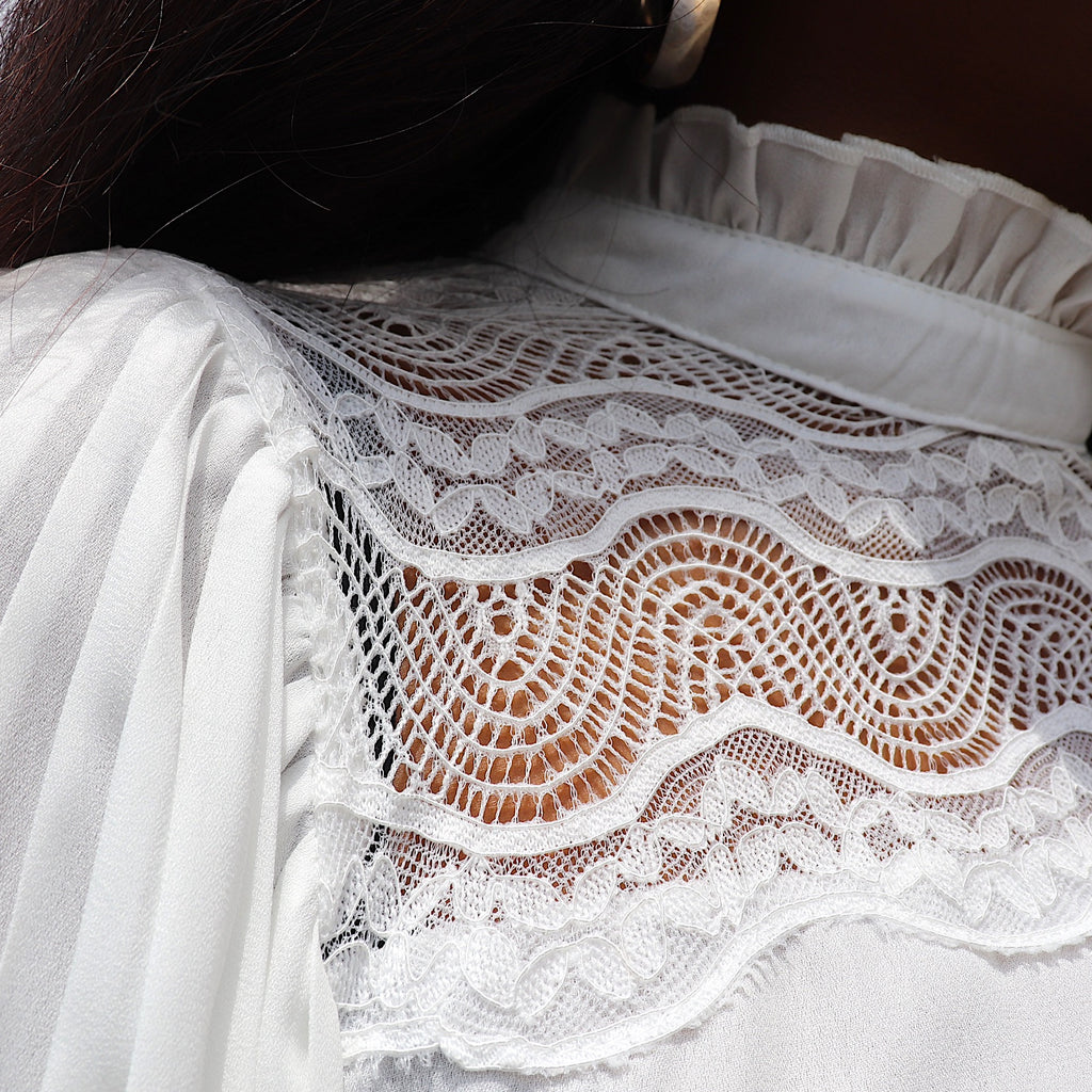 ALL MINE Lace Blouse in White