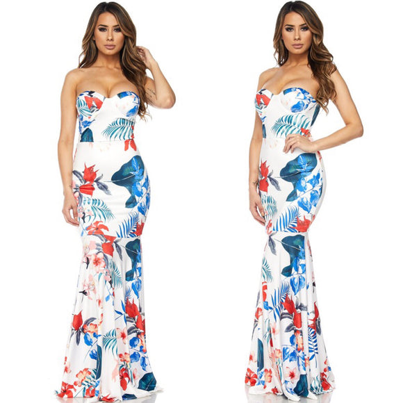 SCARLETT Floral Print Strapless Maxi Dress in WHITE