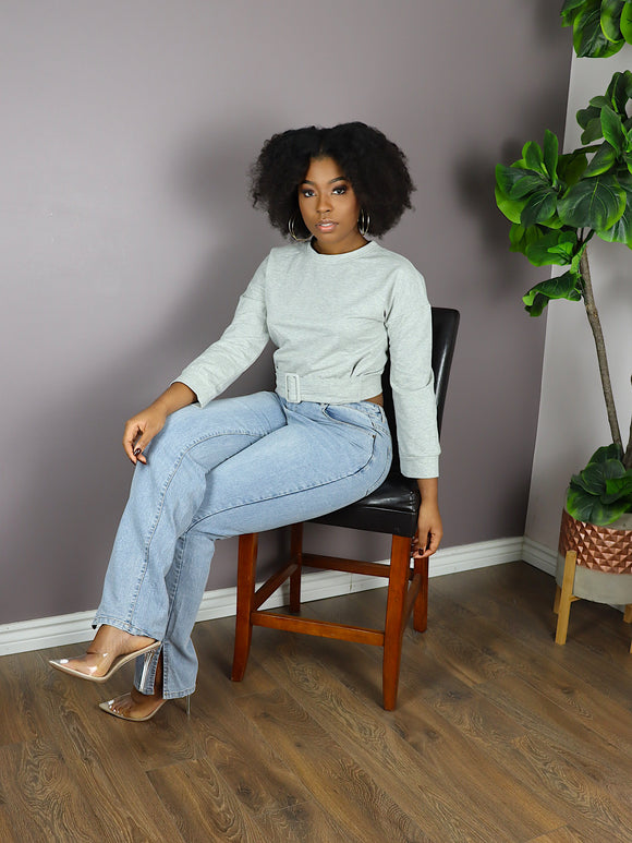 BELTED Cropped Sweater