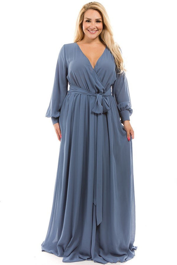 CHIFFON MAXI DRESS in Grey