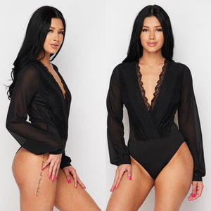 NAOMI Lace & Chiffon Bodysuit in BLACK