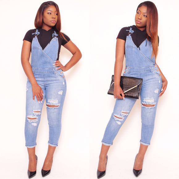 TOMMY Slim Leg Distressed Overall
