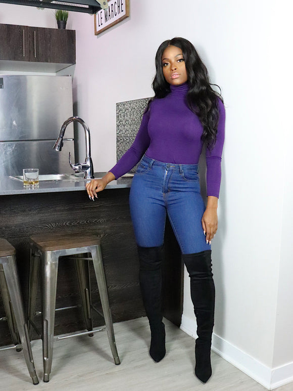 BASIC Fitted Turtleneck Sweater in Purple