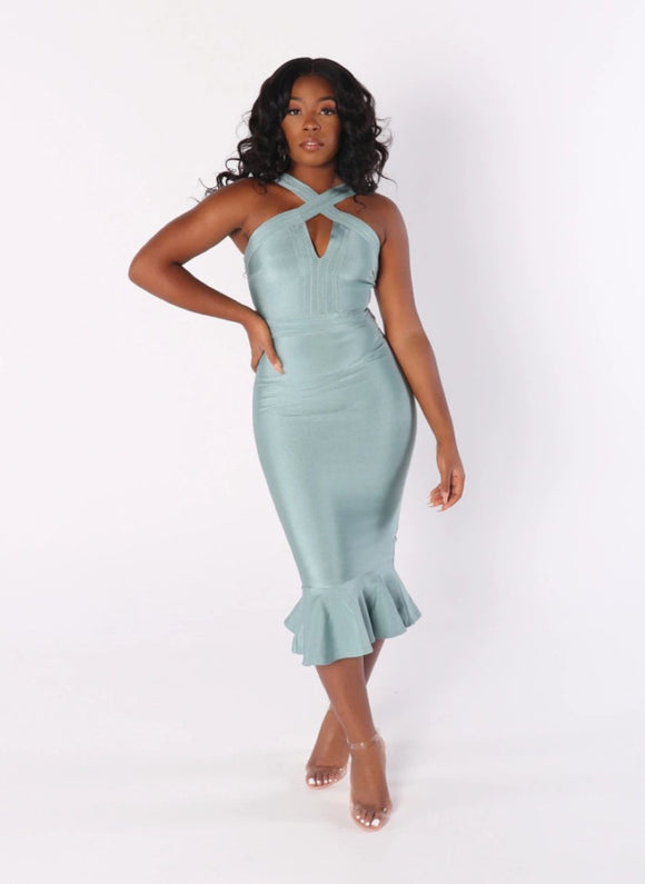 LUNA Front Cross Mermaid Bandage Dress in Mint Grey