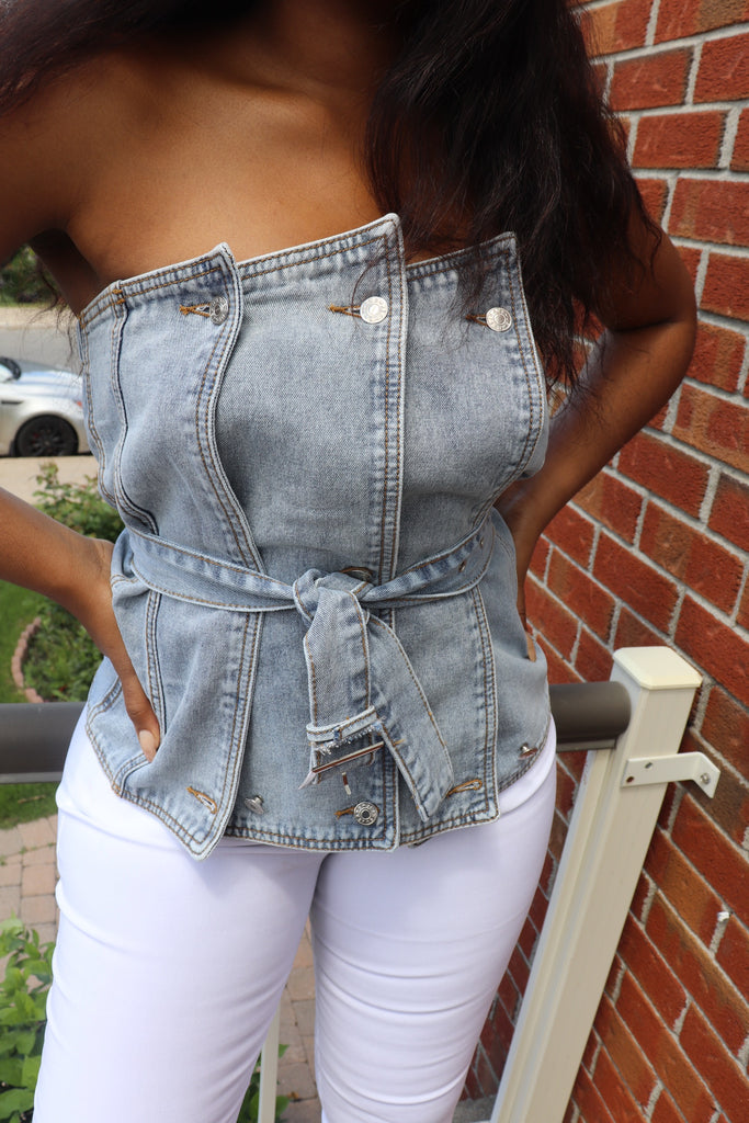 MATERIAL GIRL Asymmetric Layered Belted Denim Top