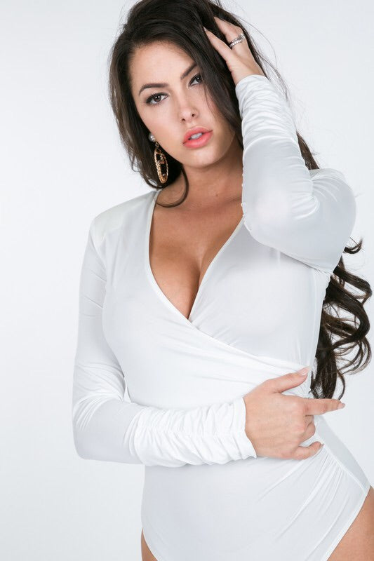 DANIELA Surplice Bodysuit in White