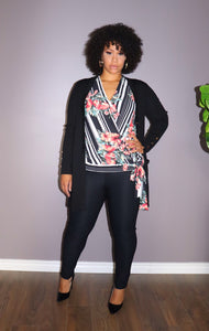 PLUS SIZE Striped Floral Surplice Top