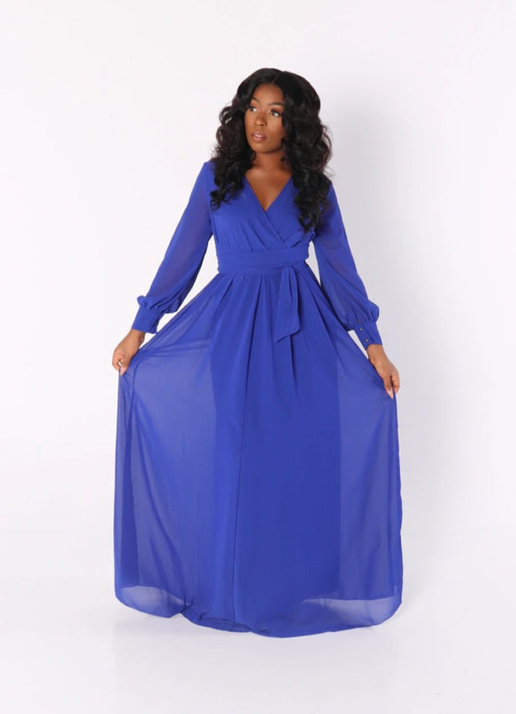 CHIFFON MAXI DRESS in Royal Blue