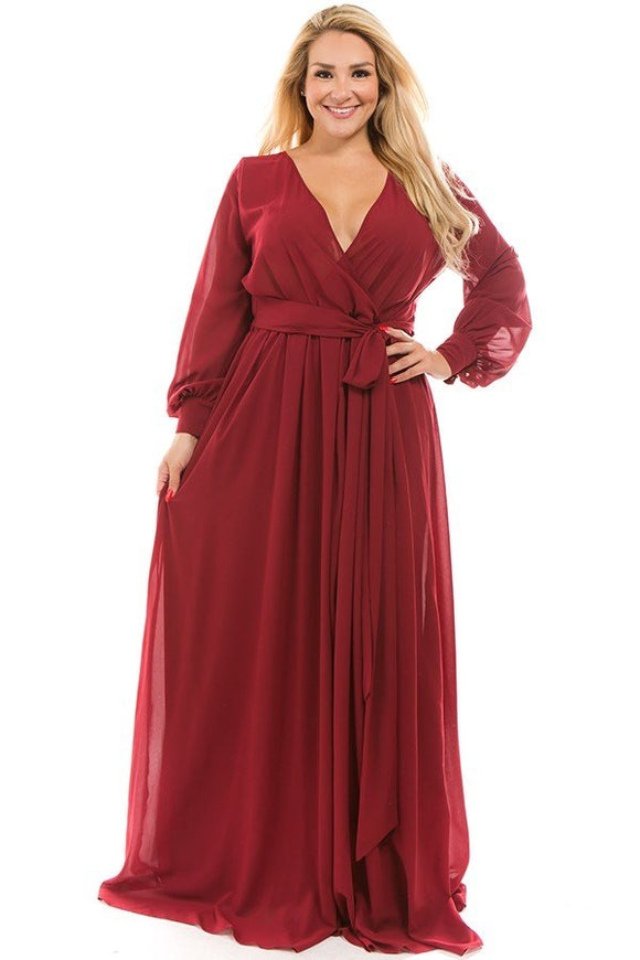CHIFFON MAXI DRESS in Burgundy