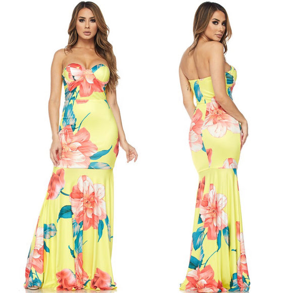 SCARLETT Floral Print Strapless Maxi Dress in YELLOW