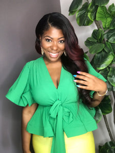 LINA Peplum Blouse in Green