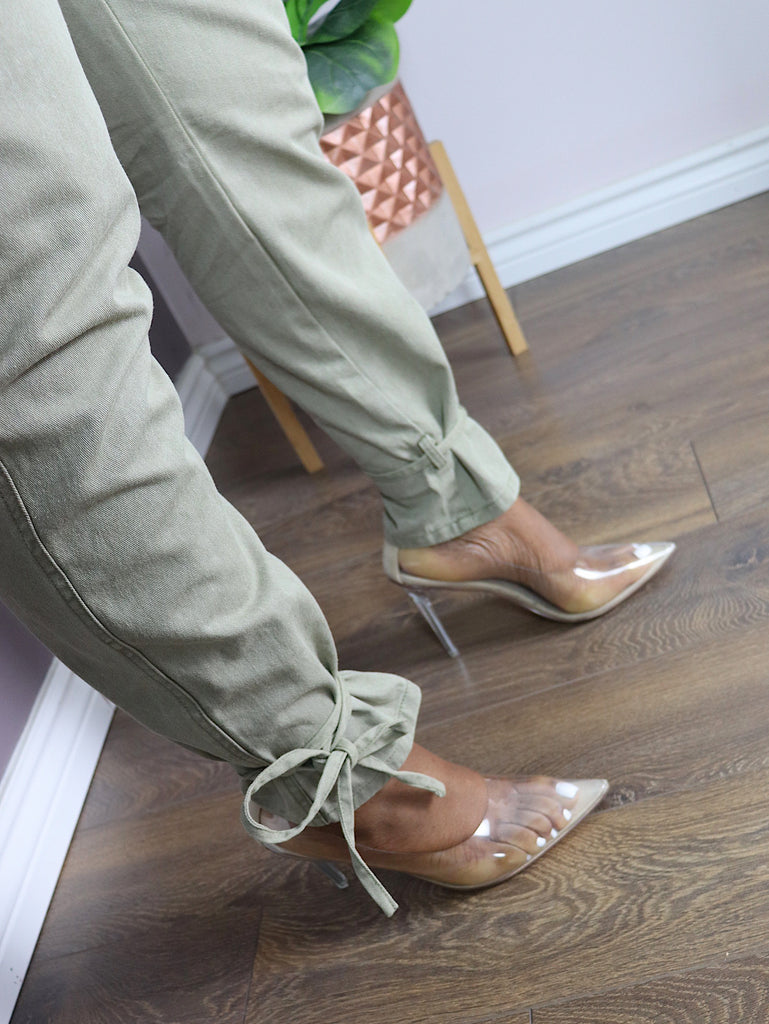 GLASS DOLL Clear Pumps in Nude
