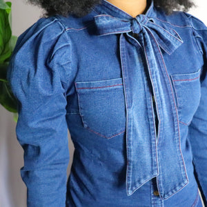 Denim Puff Sleeve Button Up Blouse