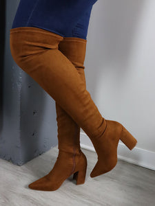 CHUNKY HEELS Thigh High Suede Boots in Tan