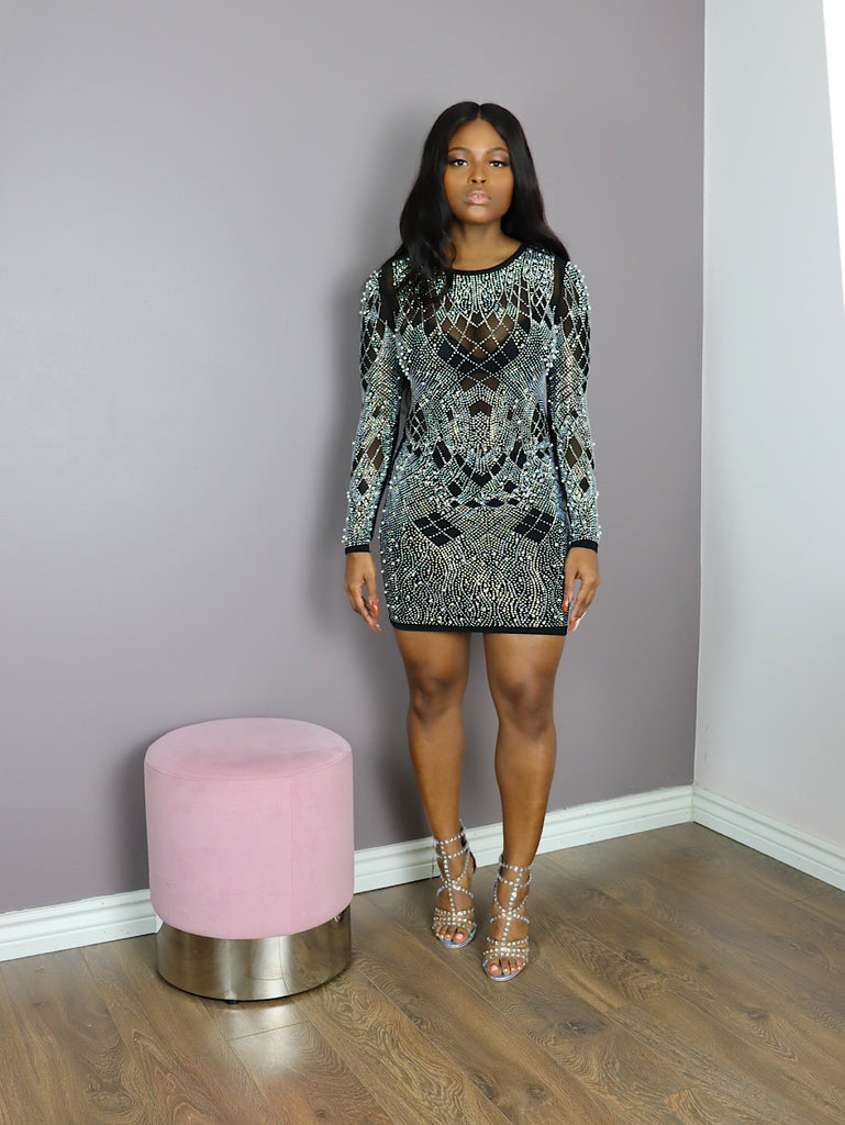 PEARLY Rhinestones Bodycon Dress