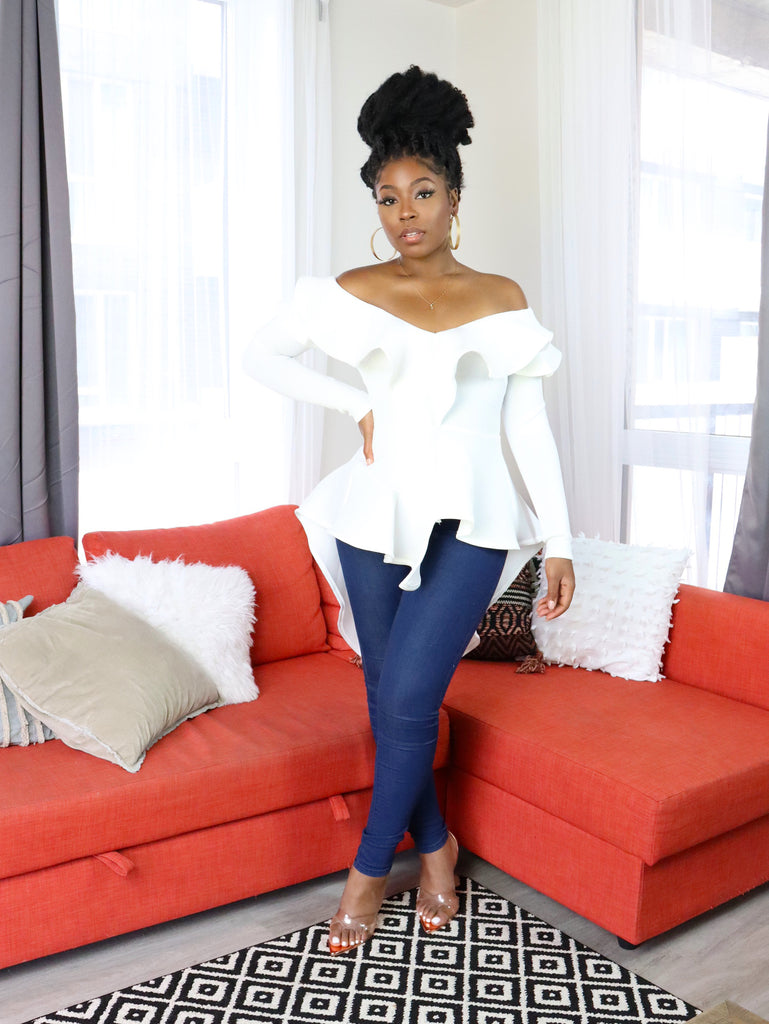 KARINA Off Shoulder Ruffle Top in White
