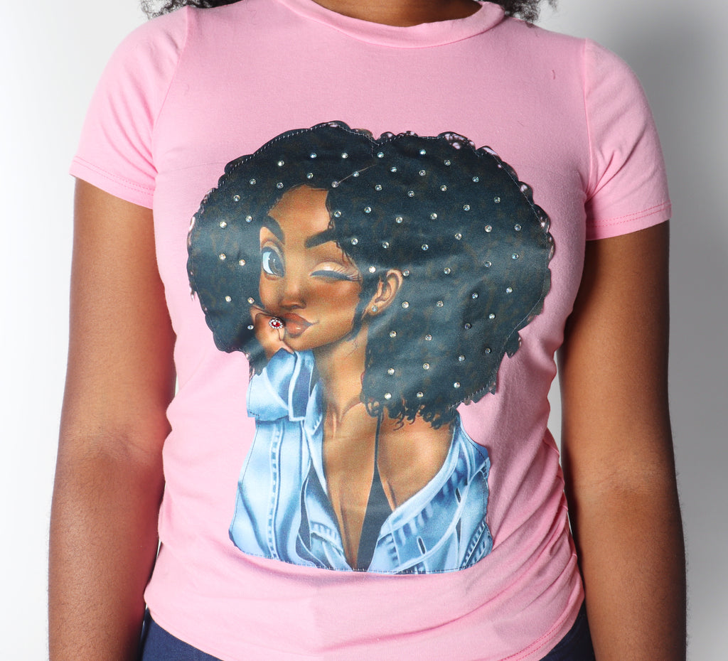 AFRO DIAMOND GIRL in Baby Pink