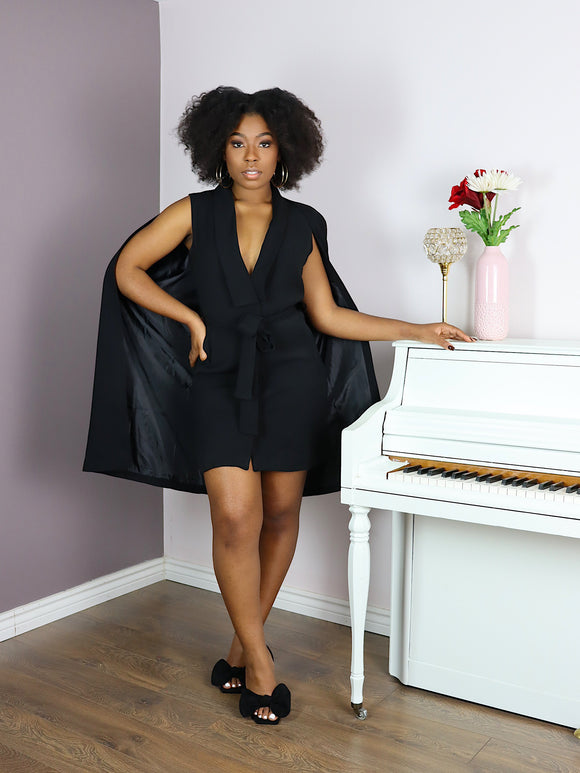 Belted Cape Blazer Dress in BLACK