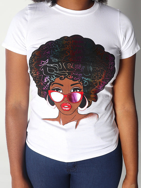 Plus Size FIT FOR A QUEEN Shirt in White