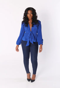 ANGELINA Peplum Blouse in Royal Blue
