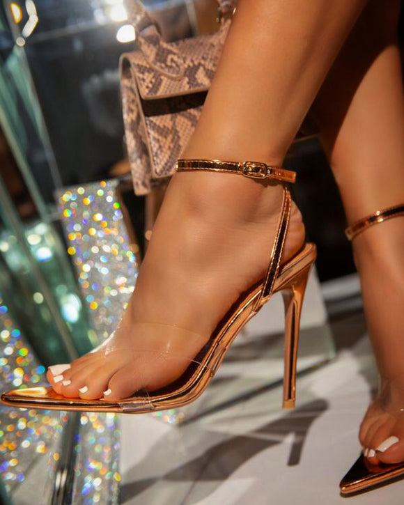 DOUBLE CROSSED ROSE GOLD HEELS