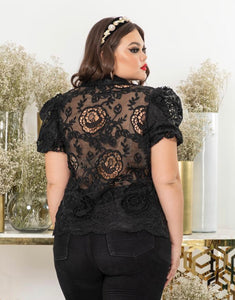Plus Size Sheer Lace Blouse in Black
