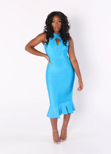 LUNA Front Cross Mermaid Bandage Dress in Aqua Blue
