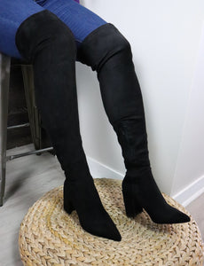 CHUNKY HEELS Thigh High Suede Boots in Black