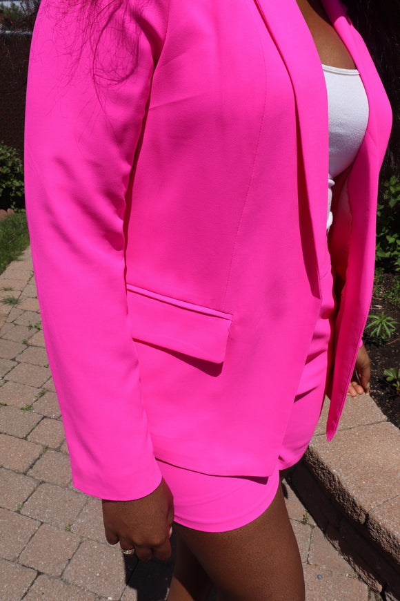 WORK n PLAY Blazer & Short Suit in Neon Pink