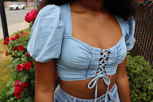 LACED Up Puff Sleeve Denim Top