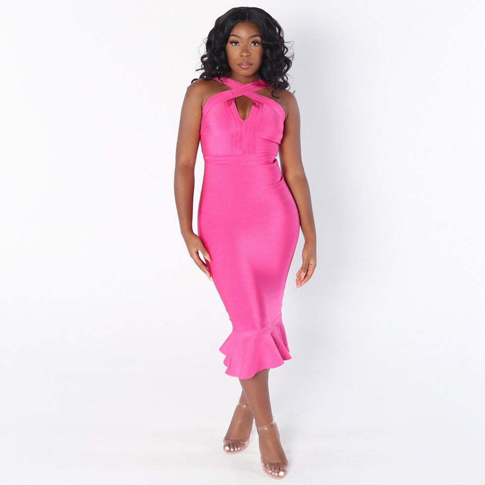 LUNA Front Criss Cross Mermaid Bandage Dress