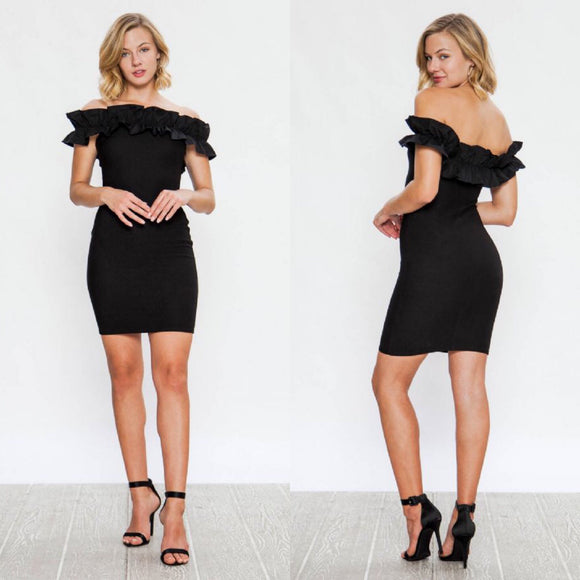 MORGAN RUFFLE Off the Shoulder Dress
