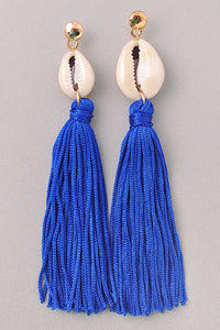 SEA SHELL Tassel Earrings in Royal blue