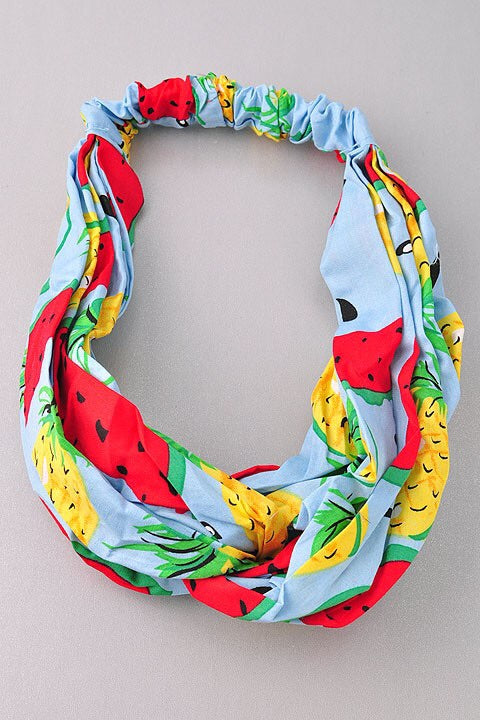 WATERMELON & PINEAPPLE Printed Baby Blue HeadBand