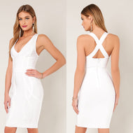 DOLORES Crossed Back Bandage Dress in White