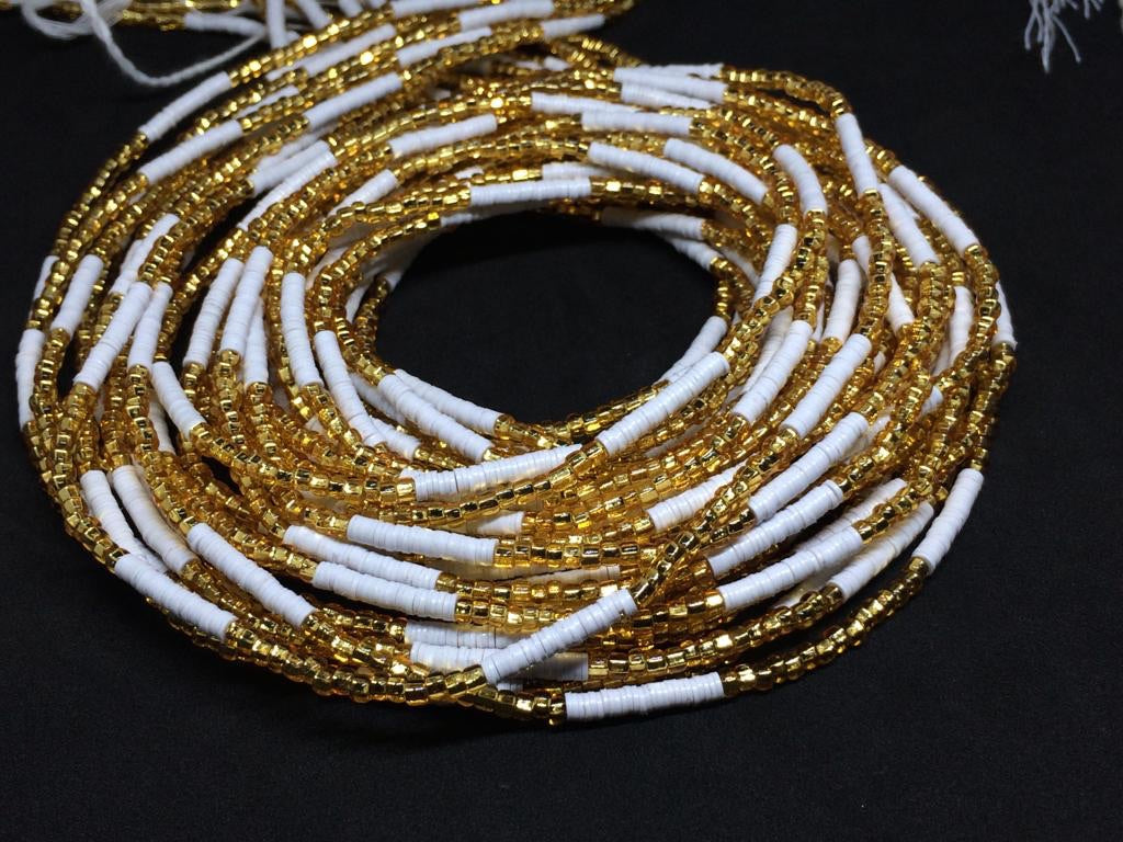 ESI White & Gold Waist Beads