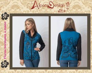 Sweater with hand embroidered flowers - Alpaca
