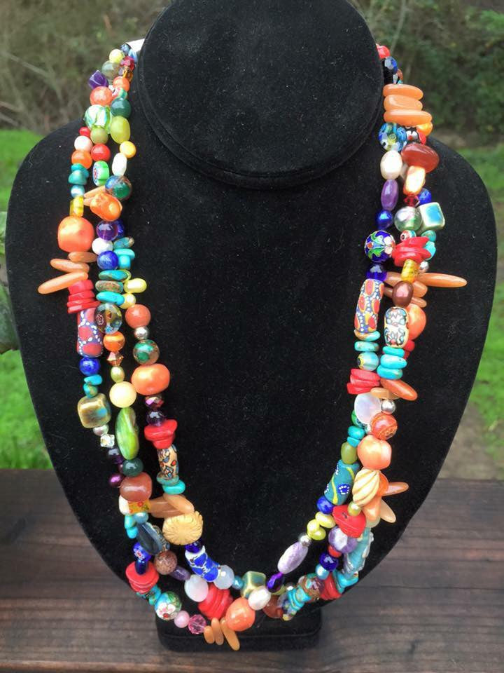 Multi Color and Stone Necklace