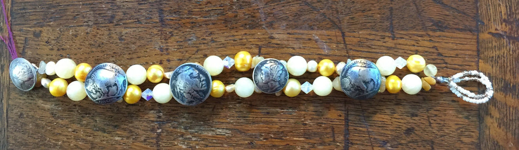 Yellow Bead and Coin Bracelet