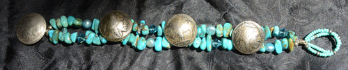 Turquoise Bracelet with Buffalo Nickels