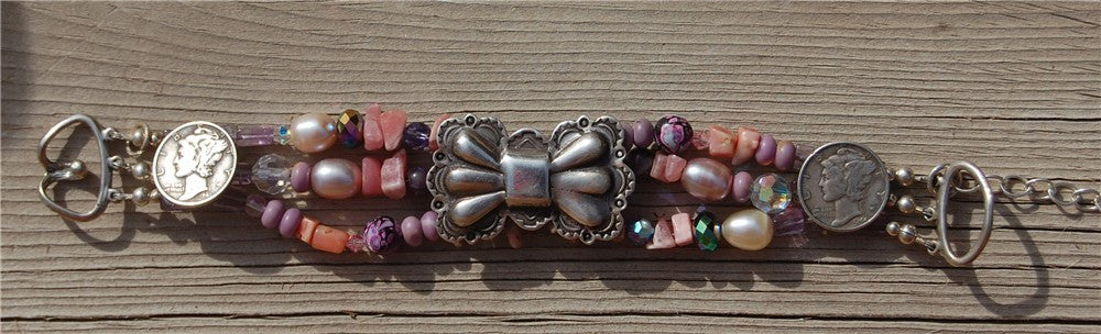 Pink Stone and Sterling Bracelet