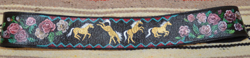 Hand Painted Belt w Horses and Roses