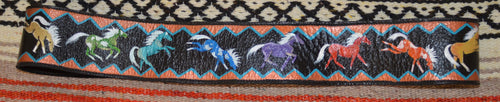 Hand Painted Belt w Multi Colored Horses