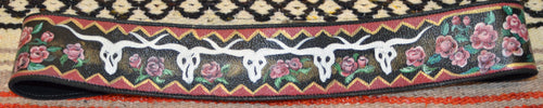 Hand Painted Belt with Cow Skulls and Roses