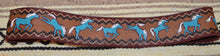 Hand Painted Brown Leather Belt w/ Turquoise Horses