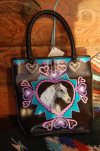 "Hand Painted Black Purse ""Queen of Hearts"""