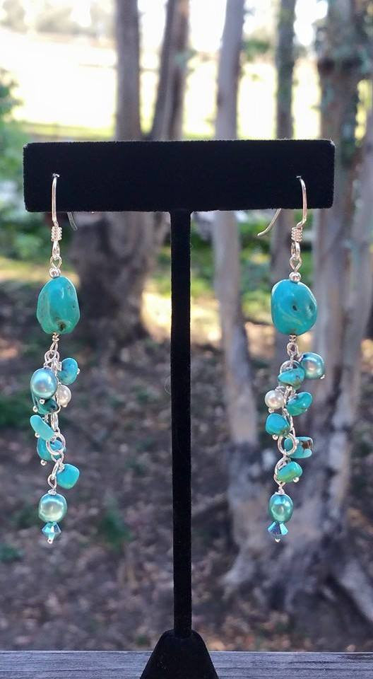 Turquoise,Crystal and Pearl earrings